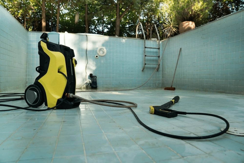 Aside from the pressure pool cleaners, pressure washers are also a popular choice for a tough pool cleaning task